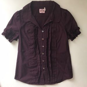 Juicy Couture Burgundy Ruffle Top